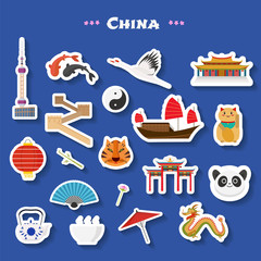 Travel to China vector icons set. Chinese landmarks, temple, great wall, architecture buildings