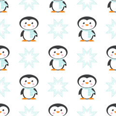 pattern with Christmas penguin in scarf