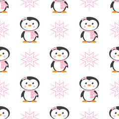 pattern with penguin and snowflake