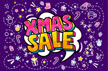 Xmas Sale Message in pop art style