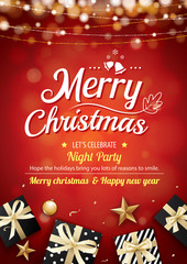 Merry christmas party light and gift box for flyer brochure design on red background invitation theme concept. Happy holiday greeting banner and card template.