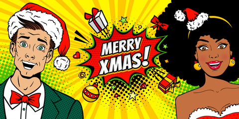 Young surprised man and sexy surprised afro american woman with open mouths in Santa Claus hats and Merry Christmas speech bubble. Vector background in pop art comic style. New Year invitation poster.