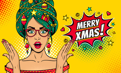 Wow pop art Christmas face. Sexy surprised woman in glasses with open mouth, New Year tree on head rises her hands . Vector bright illustration in retro comic style. New Year party invitation poster.