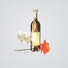 vector illustration of bottle and glass of wine and rose flower