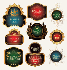 Set of vector colored ornate label templates in the Baroque style in curly gold frames on a white background