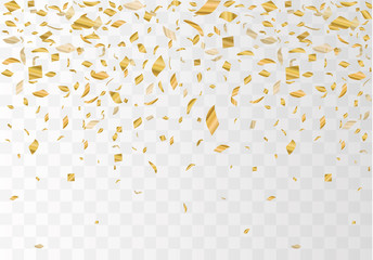 Golden confetti isolated on checkered background. Festive vector illustration