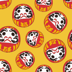 Daruma doll is a talisman for Japanese , sketch vector.