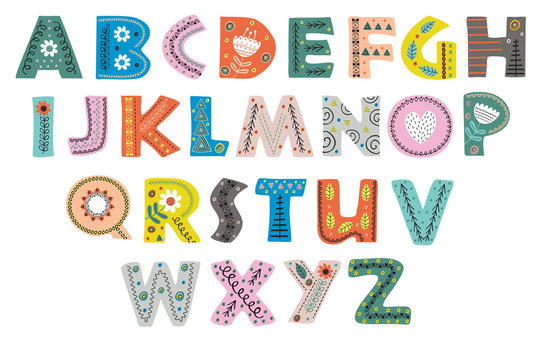 decorative alphabet in Scandinavian style color colorful  - vector illustration, eps