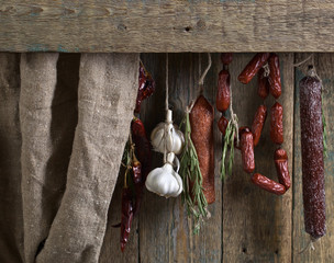 Homemade sausages with spices.