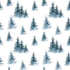 Pattern trees. Watercolor illustration