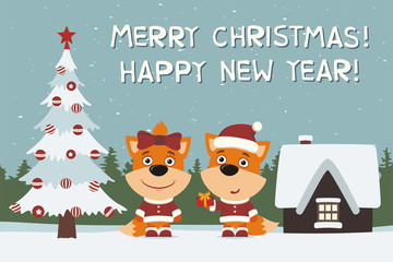 Merry Christmas and Happy New Year! Greeting card: two fox, boy and girl, with gift near Christmas tree.