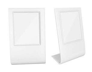 Realistic 3d render light box. Advertising Stand template on white background on white background.