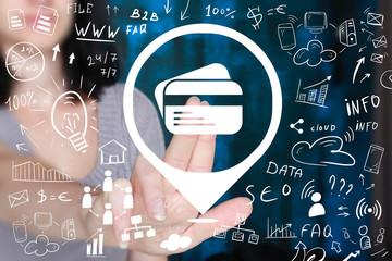 Businessman hand press button credit card online network.