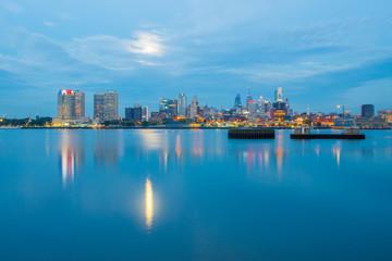 early morning sunrise over city of philadelphia PA