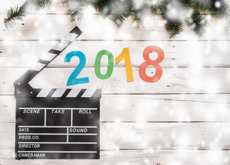 2018 new year clapperboard and snow