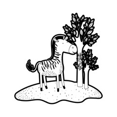 zebra cartoon in forest next to the trees in black silhouette with thick contour vector illustration