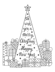 Doodle pattern. We wish you a Merry Christmas and Happy New Year. Christmas decorations, Christmas tree, gifts, snow and streamers.Festive atmosphere - coloring book for children and adults.