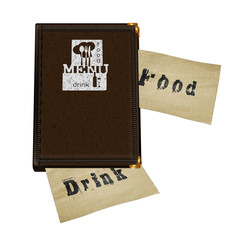 leather notepad with menu logo