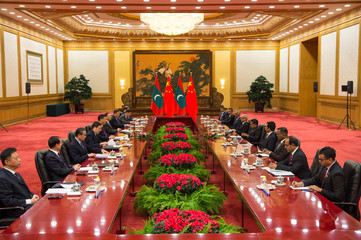 General view of the meeting between China's President Xi Jinping and Maldives President Abdulla Yameen at the Great Hall of the People in Beijing