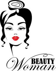 black and white face girl, vector emblem, beauty woman face, symbol beauty salon