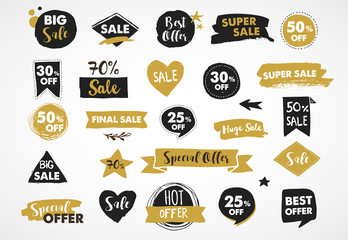 Super Sale labels, gold and black modern hand drawn stickers and tags