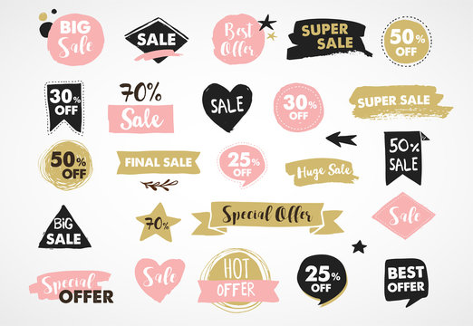 Super Sale labels, modern hand drawn stickers and tags