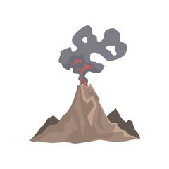 Volcano eruption, awakening dangerous vulcan vector Illustration