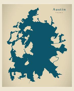 Modern City Map - Austin Texas city of the USA