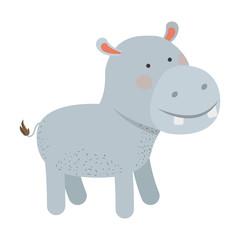 hippopotamus cartoon colorful silhouette in white background vector illustration