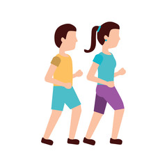 man and woman avatar running or jogging icon image vector illustration design
