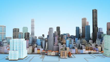 Architectural 3D model illustration of a large city on a blue background