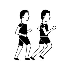 two man sport running sport image vector illustration black image