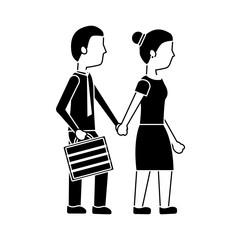 couple holding hands walk with briefcase vector illustration black image