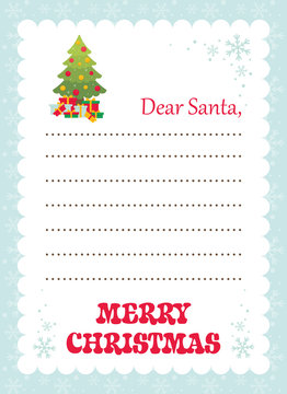 cartoon letter to santa with christmas fir tree and gifts