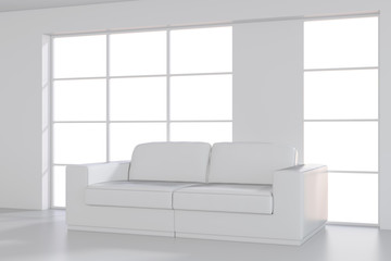 White Sofa in empty room with large window. 3d rendering.