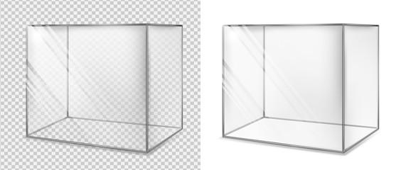 Transparent glass cube. Realistic aquarium. Special showcase