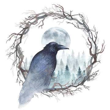 Dark raven sitting in a wreath of bare branches, and winter forest with rising moon are behind. Watercolor illustration.