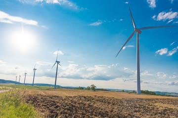 Wind turbines in a rural landscape
