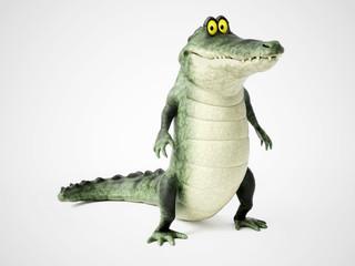 3D rendering of a cartoon crocodile standing.