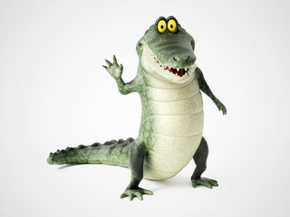 3D rendering of a cartoon crocodile waving.