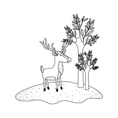 deer cartoon with long horns in forest next to the trees in monochrome silhouette vector illustration
