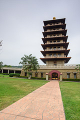 Kaohsiung, Taiwan - December 1,2017: Six perfections pagoda in Fo Guang Shan Buddha Museum