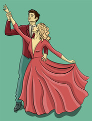 A guy in a red tuxedo and a girl in a puffy pink dress are dancing a waltz eps 10 illustration