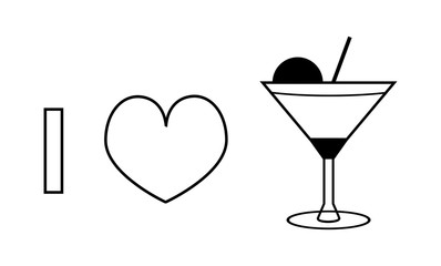 I love cocktail or champagne vector contour icon