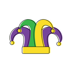 mardi gras jester hat decoration design vector illustration