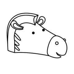 zebra cartoon head in monochrome silhouette vector illustration