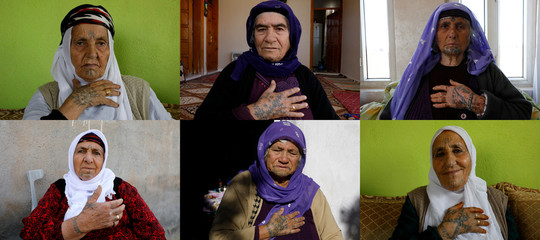 A combination picture shows women who have tattoos on their faces in Turkey