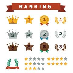ランキングのイメージアイコンイラストセット(王冠・星・メダル)