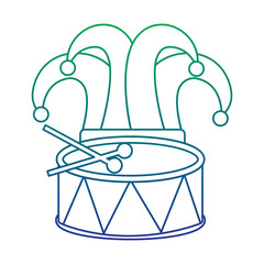 mardi gras hat jester drum music celebration vector illustration