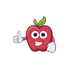 apple thumb up cartoon vector ilustration